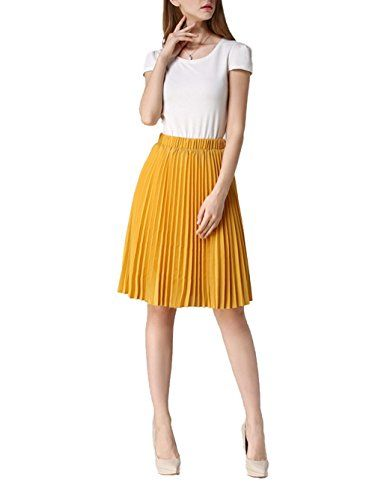 a674994a0b Uideazone Womens Bohemian Pleated Midi Skirts Stretch Linen Knee Skirt  Yellow. UK skirts. It's an Amazon affiliate link.
