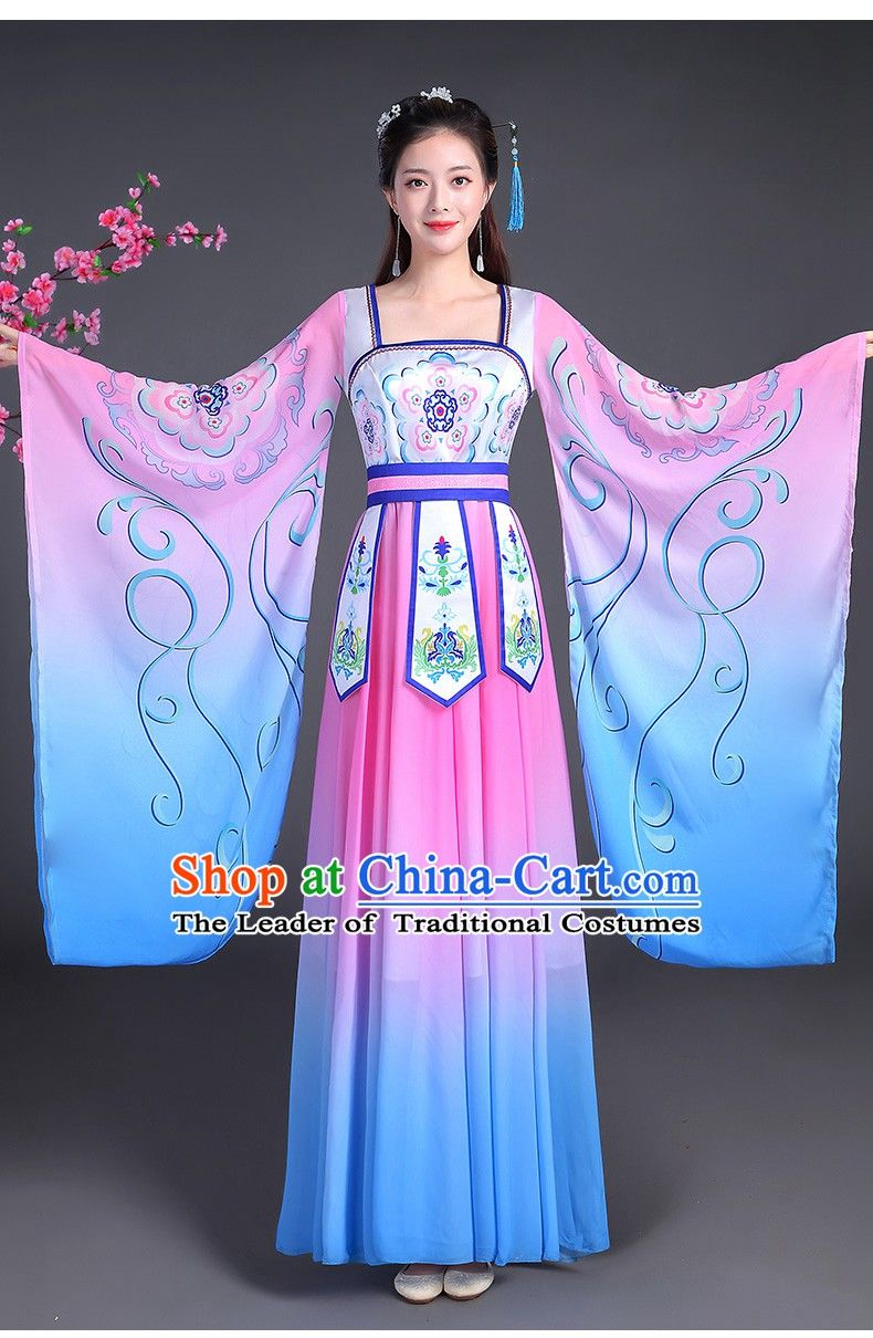 b343fc2f0 Tang Dynasty Palace Dancer Beauty Maid Wide Sleeve Dance Costume ...