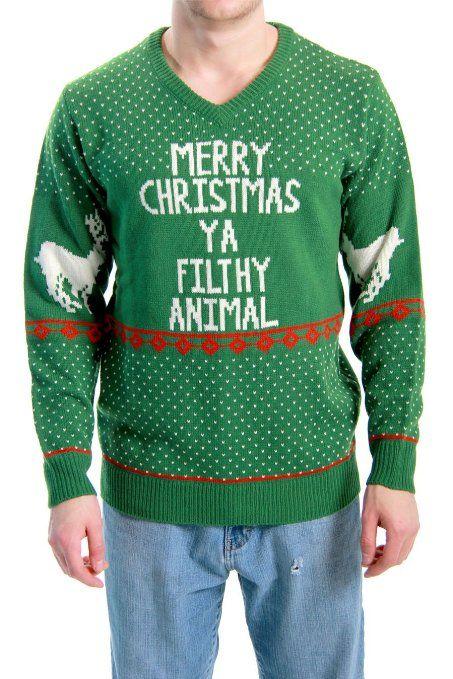 Home Merry Christmas Ya Filthy Animal Funny Xmas Sweater Design Green Tank Top