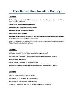 chapter by chapter questions on charlie and the chocolate factory  chapter by chapter questions on charlie and the chocolate factory   ideal  for a comprehension task  roald dahl  charlie chocolate factory  chocolate