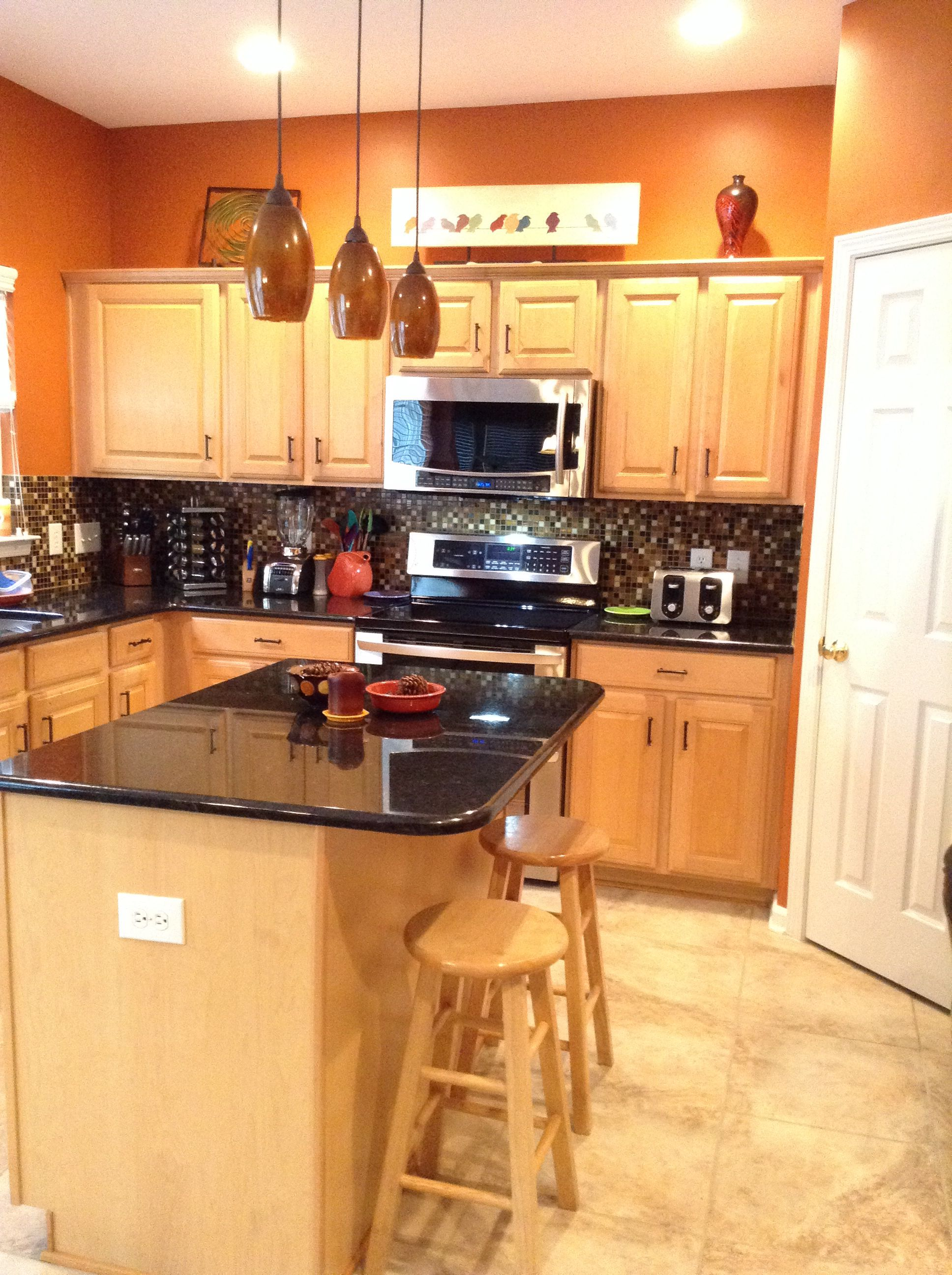 Burnt Orange Kitchen Black Granite Countertops Gl Tile Backsplash Flooring