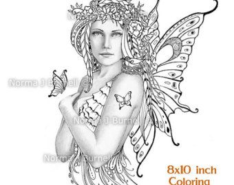 Umbrella Fairy 8x10 inch Adult Coloring Sheet by FairyTangleArt ...
