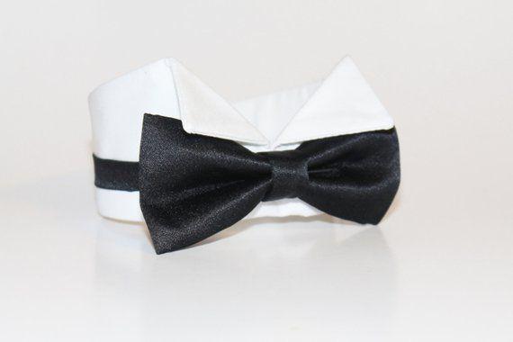 0d270a8e9741 Tuxedo Collar- Black Dog Bow Tie and Shirt Collar- Black tie- Wedding Dog  Tie- Shirt Collar