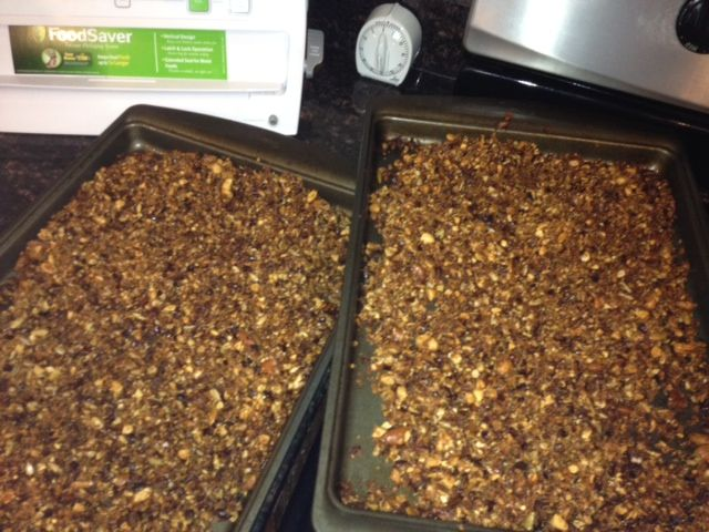 I really love granola and was bummed to not eat it when I went Paleo. I found a few recipes that make a great grainless granola. Here is one I have modified a bit. It does contain some honey but it is chock full of good fats and fiber and prote ...