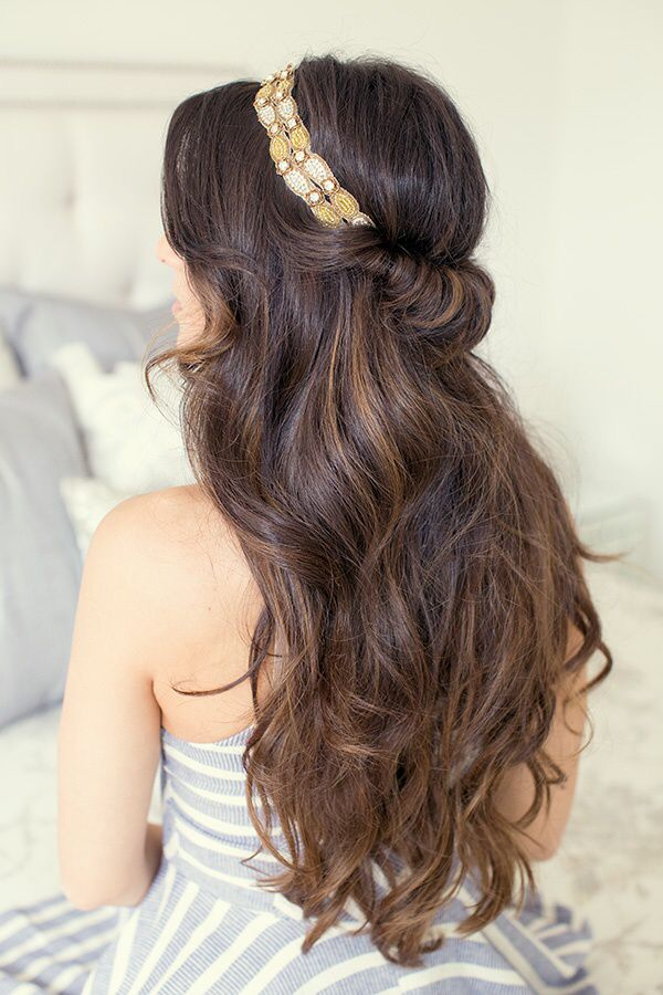 Half-up hairstyle wrap...