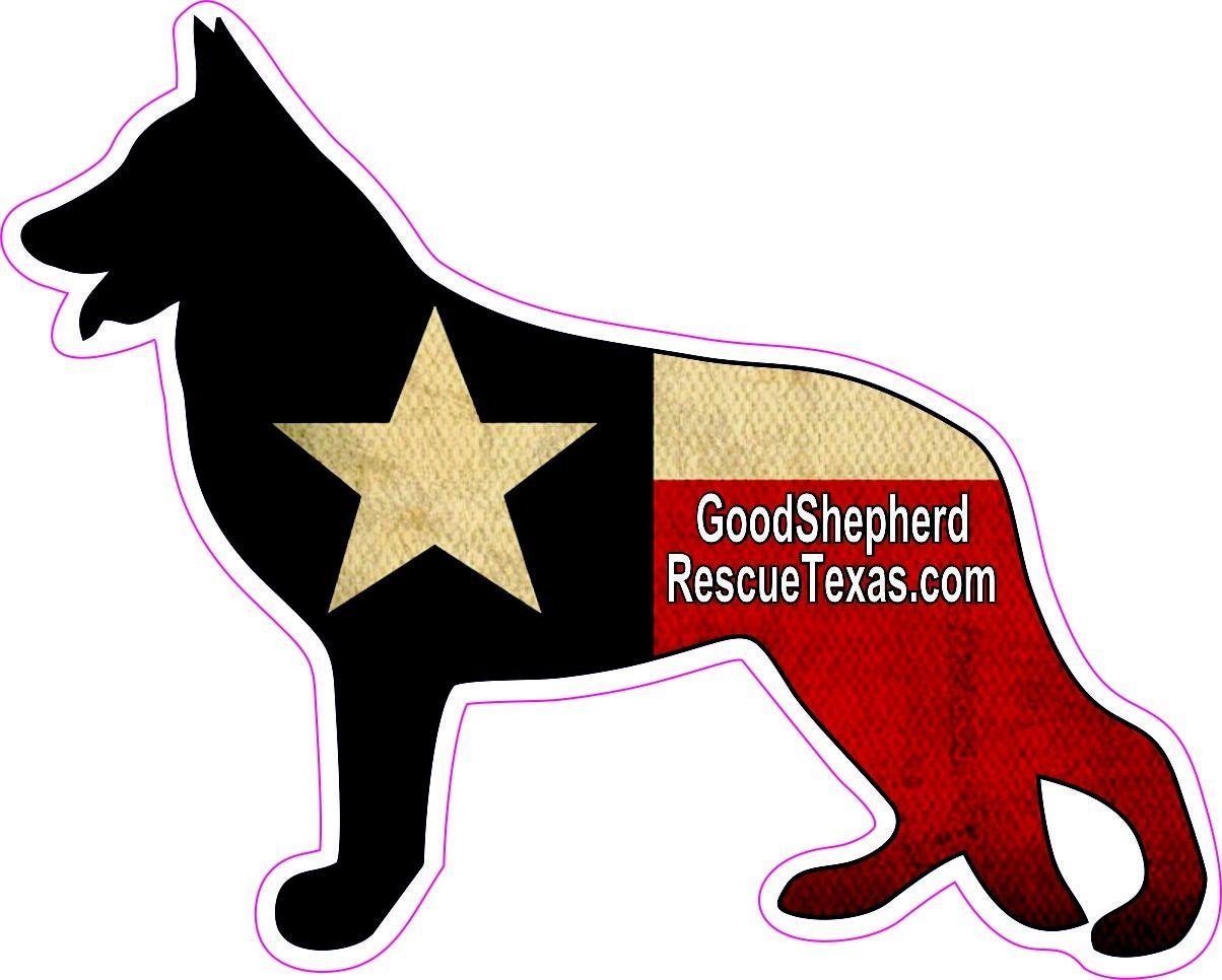 German Shepherd Texas Flag Vinyl Window Decal Sticker