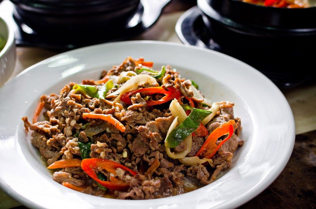 Beef Bulgogi: Bulgogi is made from thin slices of sirloin or other prime cuts of beef. Before cooking, the meat is marinated to enhance its flavour and tenderness with a mixture of soy sauce, sugar, sesame oil, garlic, pepper and other ingredients such as scallions, onions or mushrooms, especially white button mushrooms or shiitake.