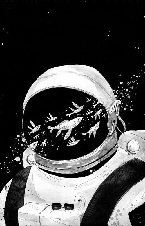 Astronaut Fish Black White Art Astronaut Art Space Illustration Art