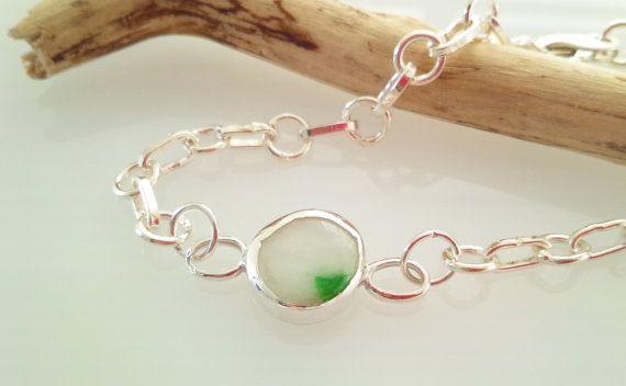Natural Jade Jadeite SV925 Bracelet/ adjustable by SaeSumiKoru, $98.00