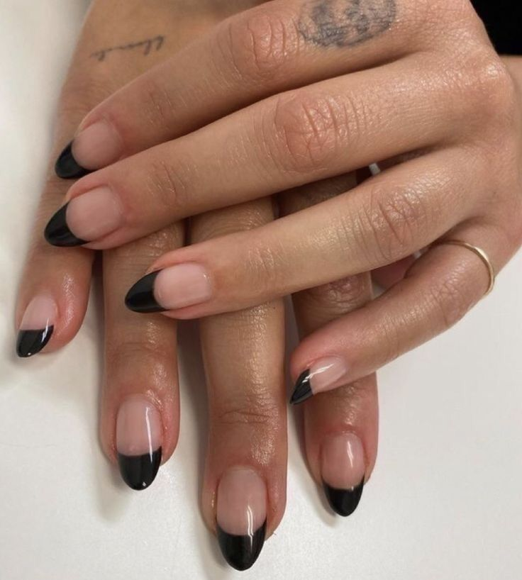 Black Tip Nails Grunge Nails Minimalist Nails Swag Nails