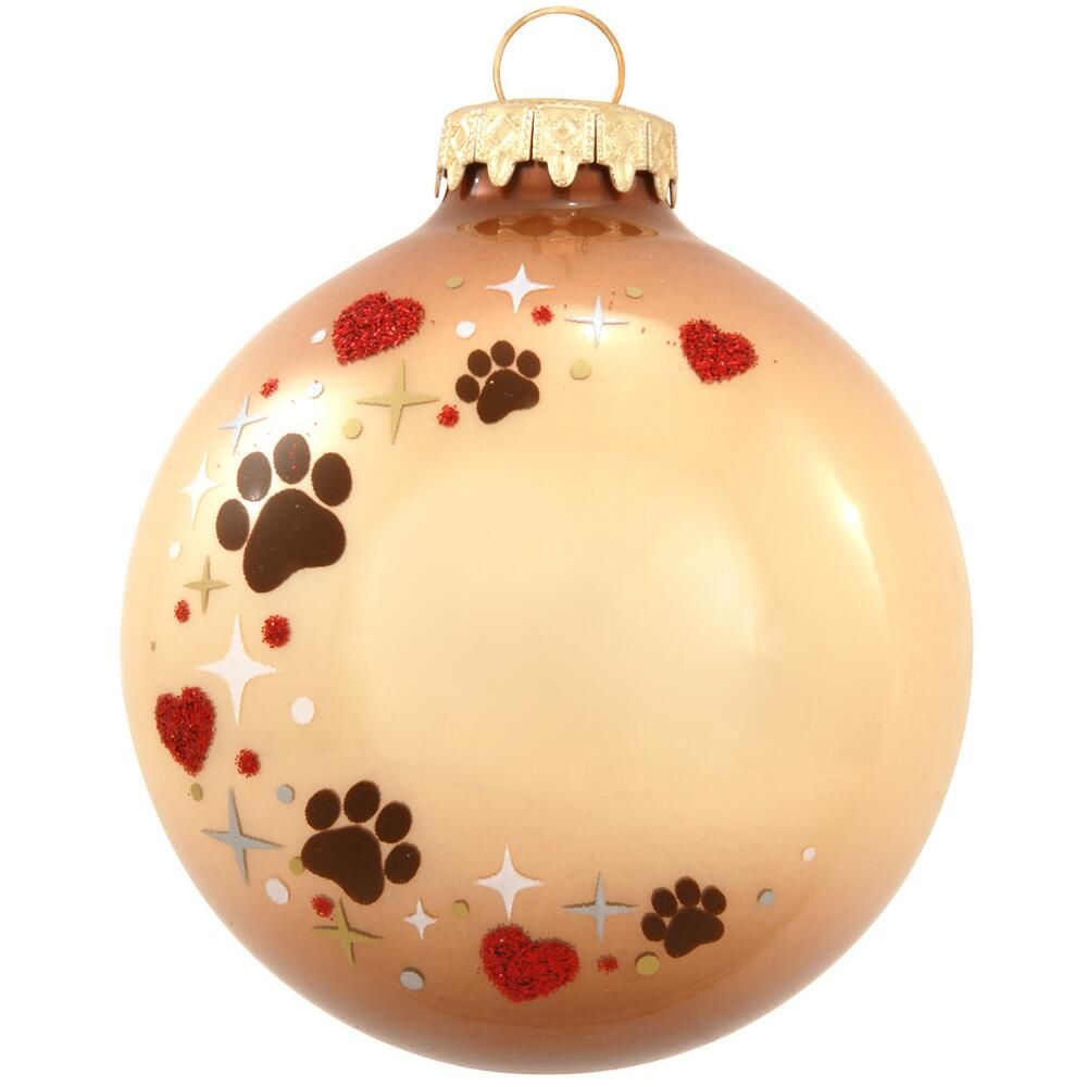 Paper christmas decorations to print - Personalized Pet Paw Print Heart Swirl Glass Ornament