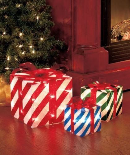 new set of 3 christmas lighted striped gift boxes yard decor ebay