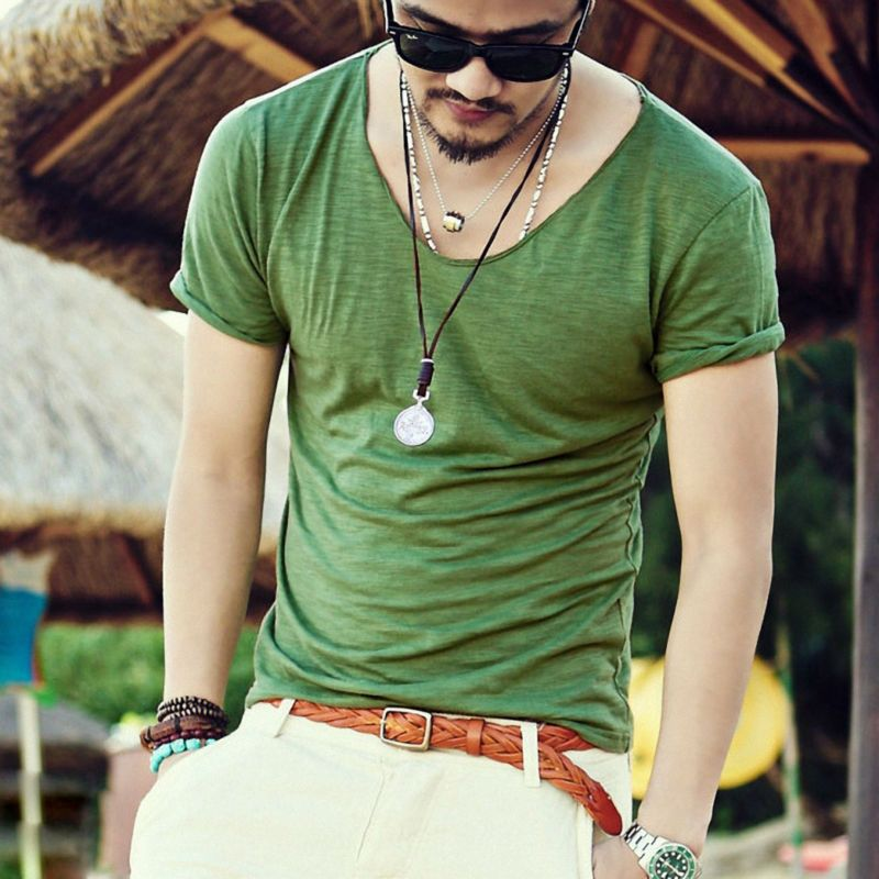Men s Exclusive Pretty Tops V Neck Shorts Sleeve T Shirts Stunning Cut Off  Border 2015 New Summer Style  Q001 bfe4a98db