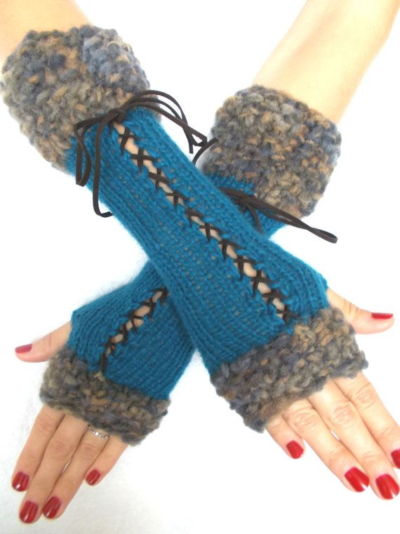 Fingerless Gloves, Long Corset Arm Warmers Handknit in Dark ...