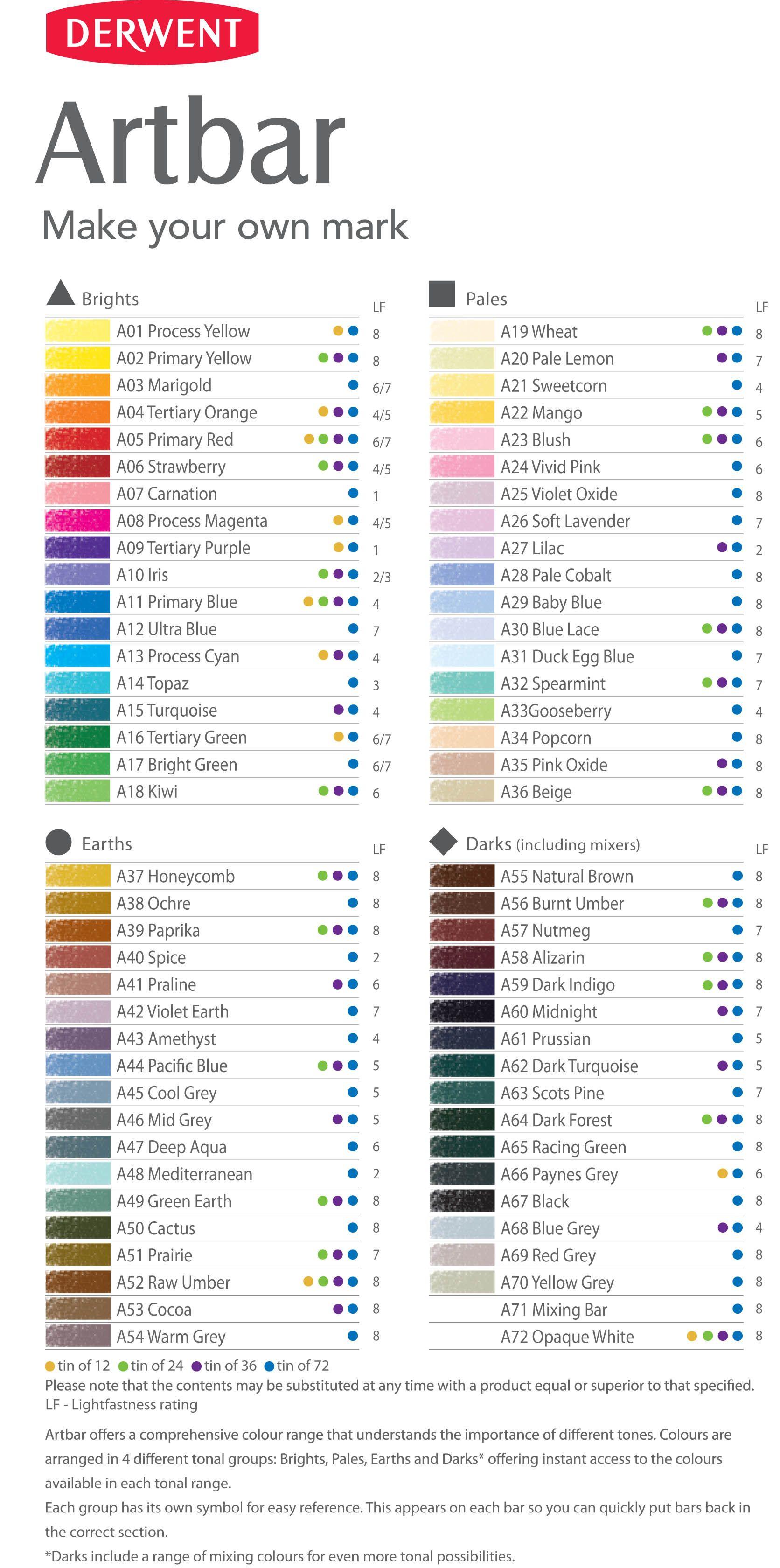 Colour Chart For The Full Range Of 72 Derwent Artbars Colour