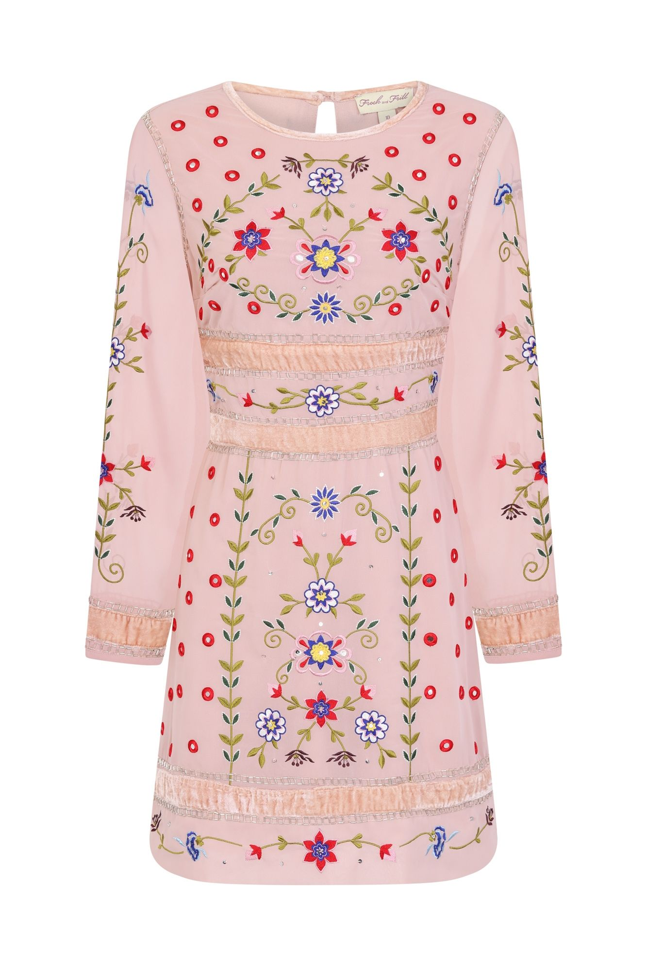 Frock And Frill Fawn Pink Floral Long Sleeve Embroidered Mini Dress Pink Long Dress Mini Dress Long Sleeve Mini Dress [ 2000 x 1333 Pixel ]