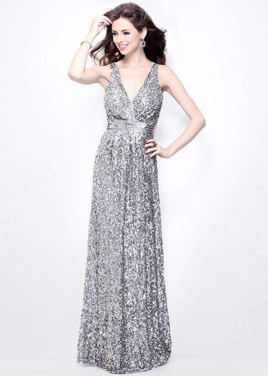 Primavera 1257 Sequin V-Neck A-Line Evening Gown