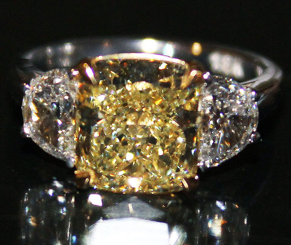 d3bd8e1fb5d269 GIA Certified 2.50Cts Fancy yellow Cushion Cut 3 Stone Diamond Engagement  Ring #HellzenburgDiamondCo #SolitairewithAccents