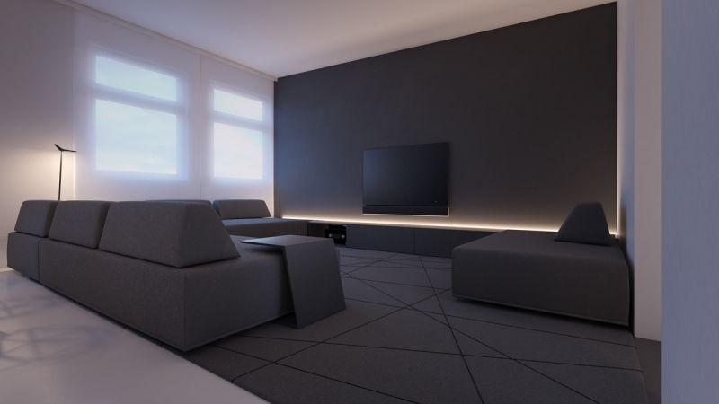 schwarzes minimalistisches Wohnzimmer  LED Leiste hinter LowBoard  Wohnzimmer  Indirekte