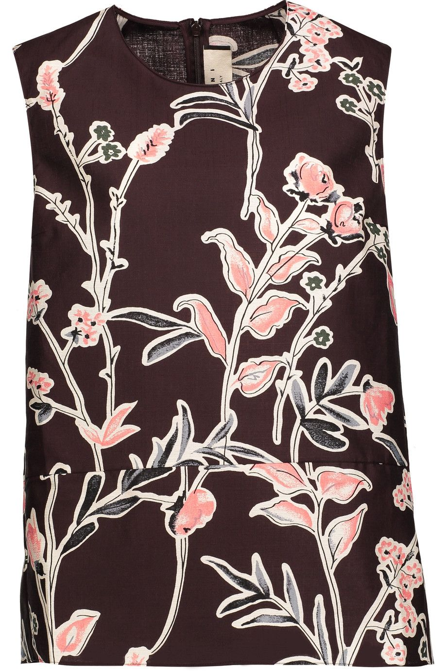 MARNI Floral-Print Cotton And Silk-Blend Top. #marni #cloth #top