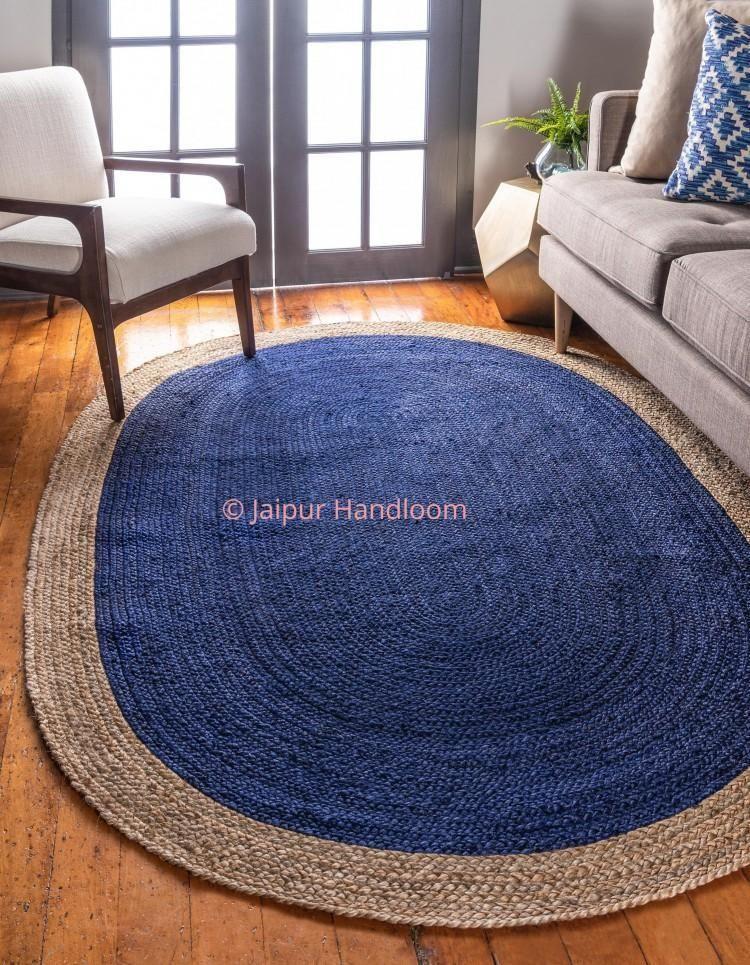 4 X 6 Feet Hand Braided Navy Blue Jute Rag Rugs Living Room Area