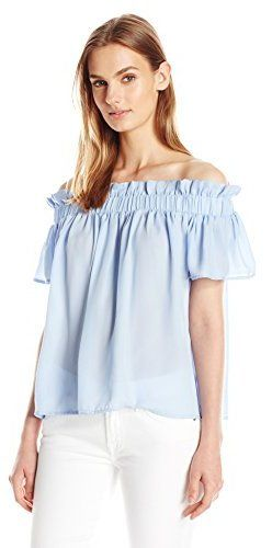 cb3119d82b6c9e Lucca Couture Women's Crepe Off Shoulder Paperbag Top | Button Up ...