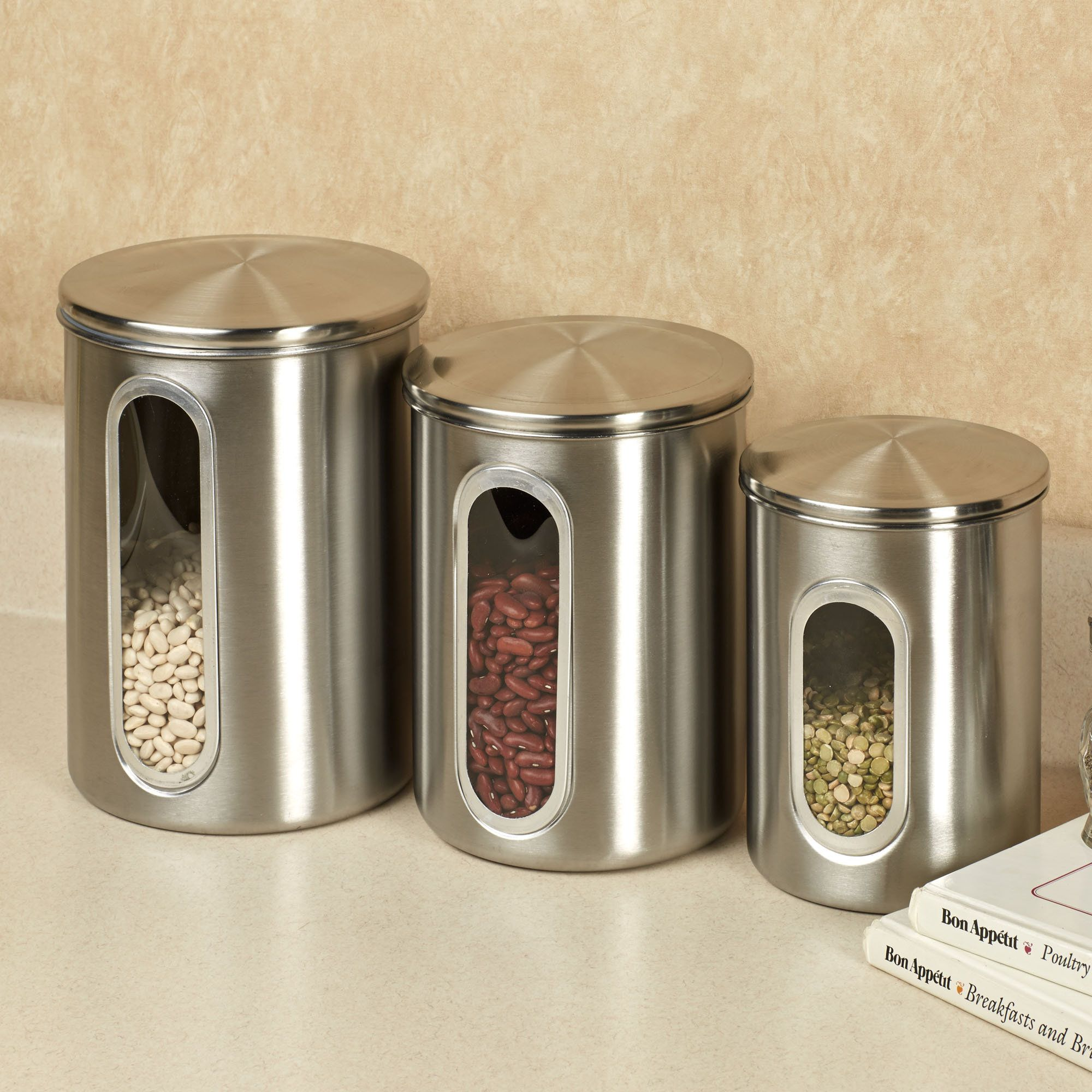 Kitchen, Excellent Round Stainless Steel Kitchen Canister Sets For Saving  Food: Attractive Kitchen Canister