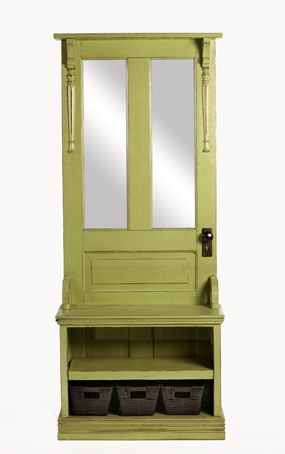 John Michael Collection / Hall Tree Description: This Genuine Entry Piece  Features An Exterior Door