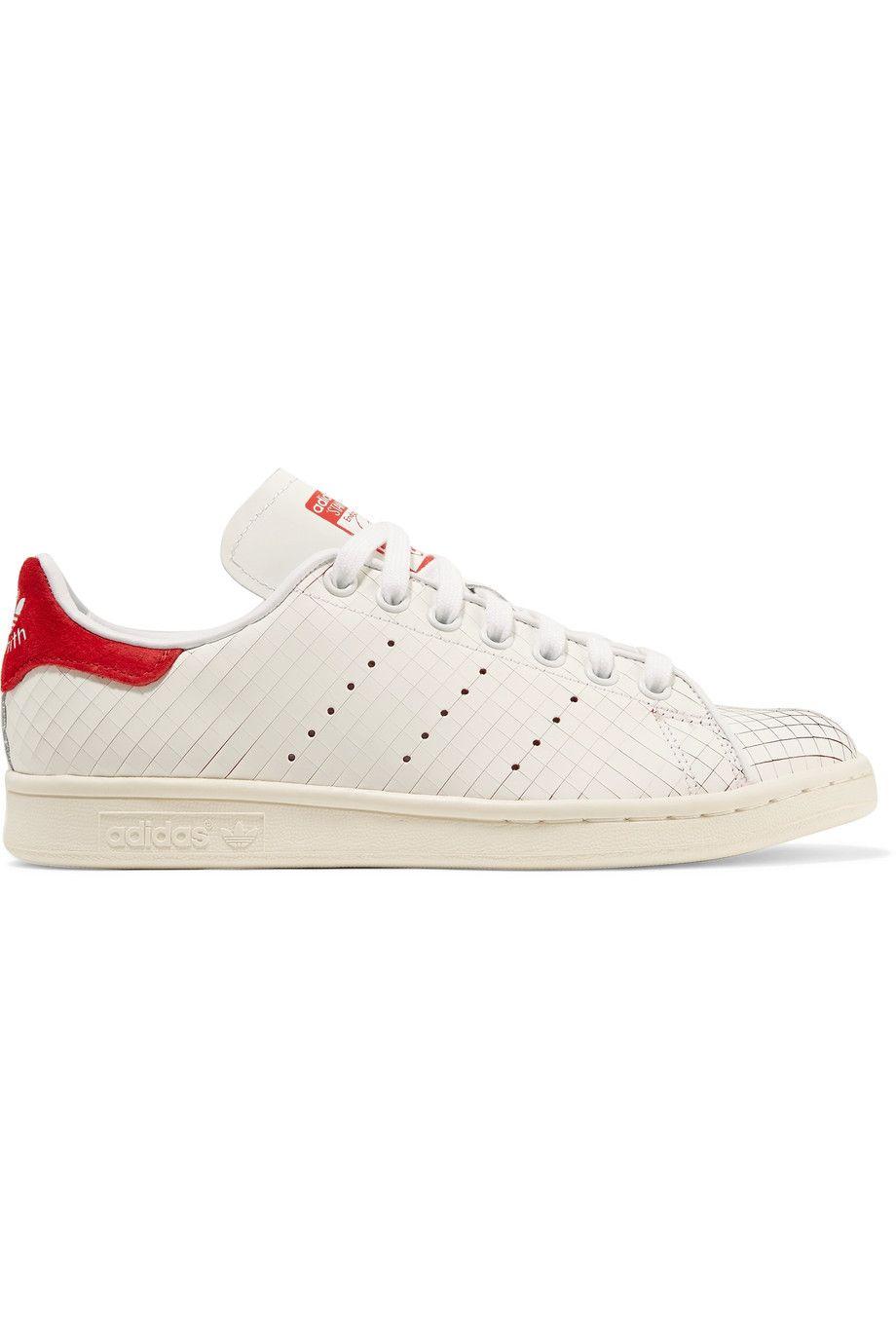 9439ceec8f9038 ADIDAS ORIGINALS Stan Smith Suede-Trimmed Laser-Cut Leather Sneakers.   adidasoriginals  shoes  sneakers