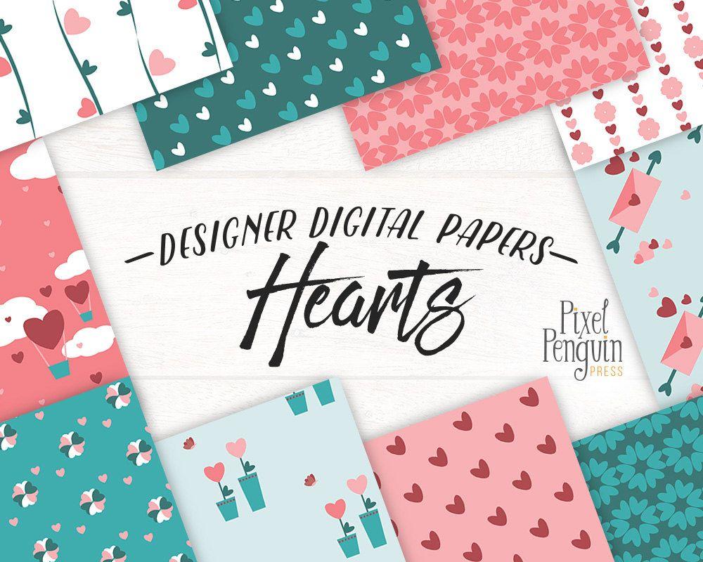 Valentine Digital Paper Pack, Digital Background, Heart Pattern ...