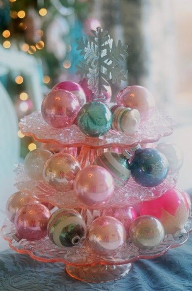 Christmas Open House A Pastel Christmas All Things Heart And Home Shabby Chic Christmas Ornaments Pastel Christmas Decor Pink Christmas