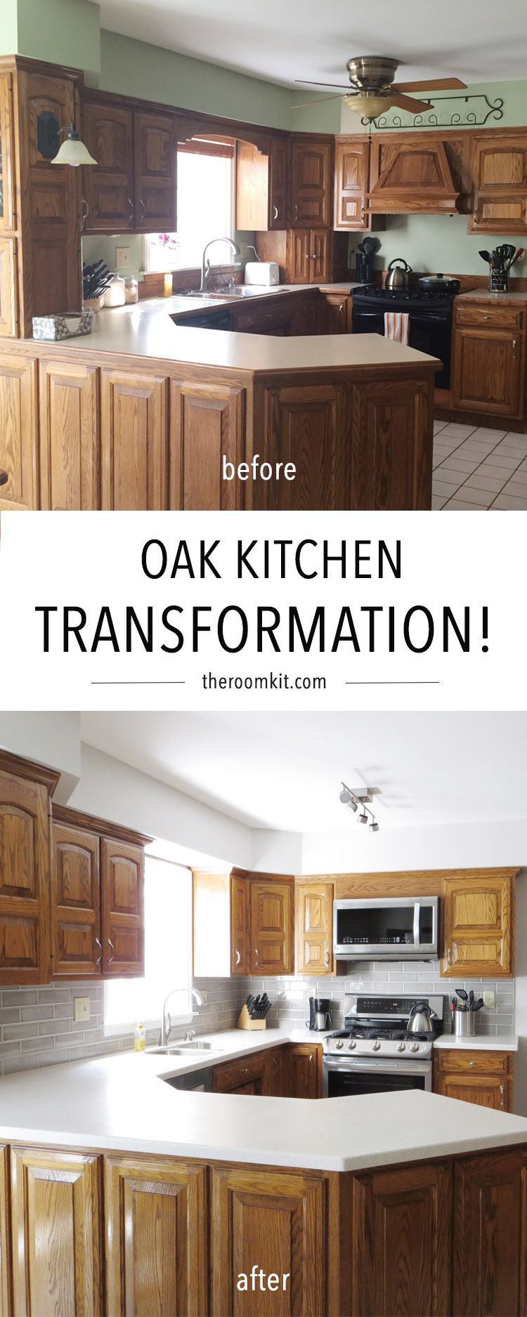 You Can Totally Keep Your Oak Cabinets And Make Them Work How To Reuse Oak Cabinets In A Kitchen Kitchen Transformation Oak Kitchen Kitchen Inspirations