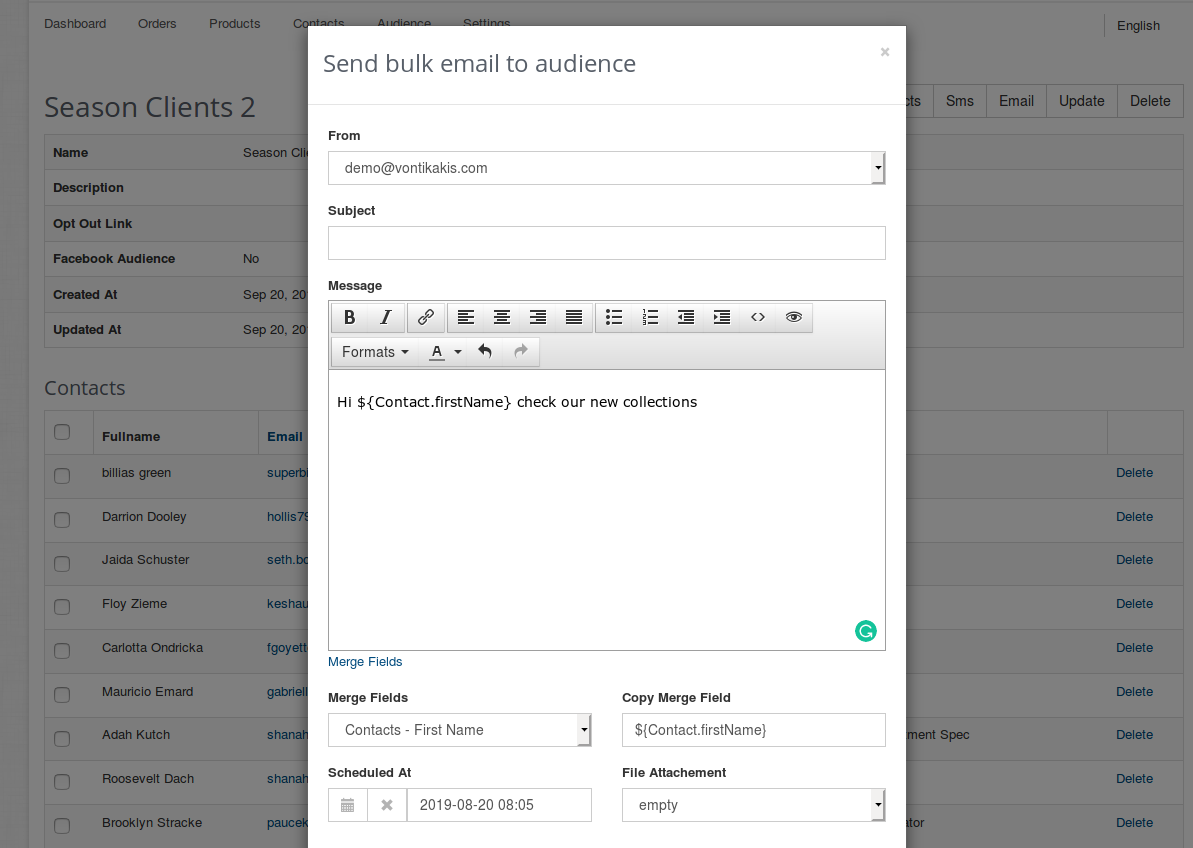 Send bulk email to groups of your contacts clients with