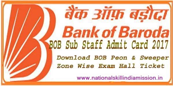 Bank of Baroda Sub staff 2016 PET Admit Card 2017 Bank