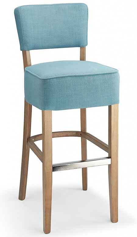 Goposti Teal Blue Fabric Seat Kitchen Breakfast Bar Stool Wooden
