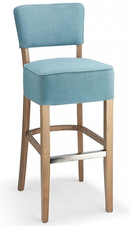 Goposti Teal Blue Fabric Seat Kitchen Breakfast Bar Stool Wooden