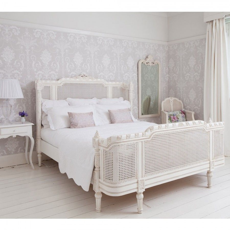 Provencal Lit Lit White Rattan Bed (King Size) White