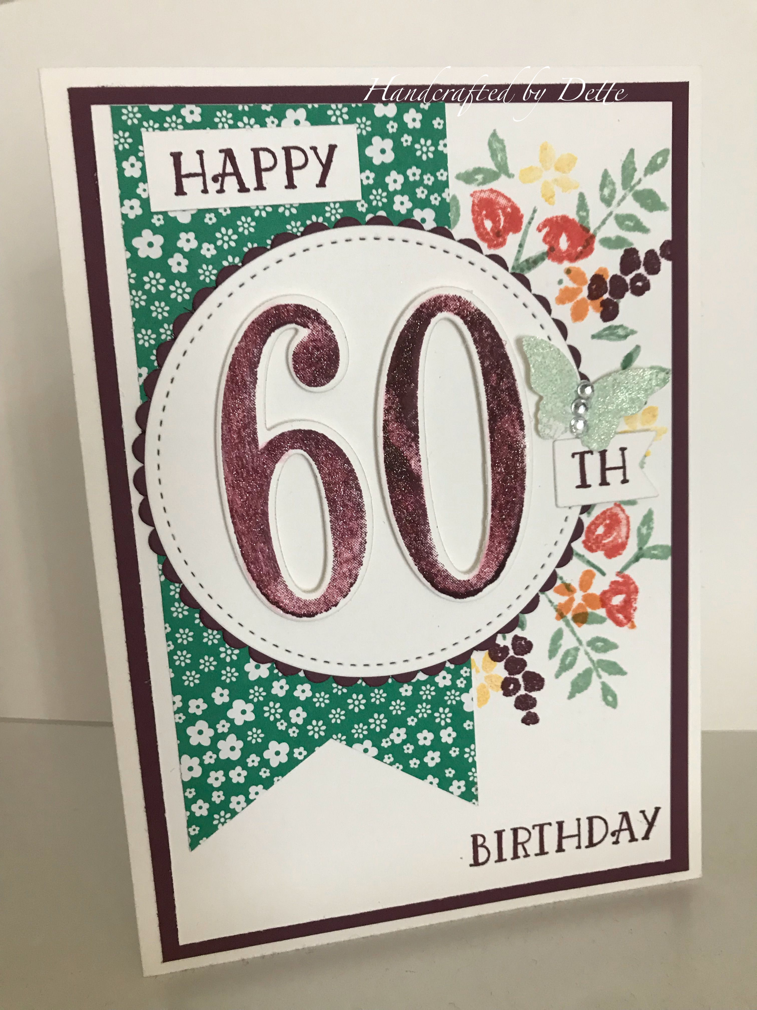 Birthday card using number of years stamp set from stampin up case