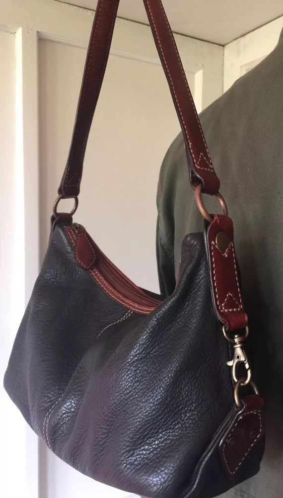 Vintage Fossil Black Pebble Leather w Brown Trim Hobo Shoulder Bag Purse  3474f37c7a7a9