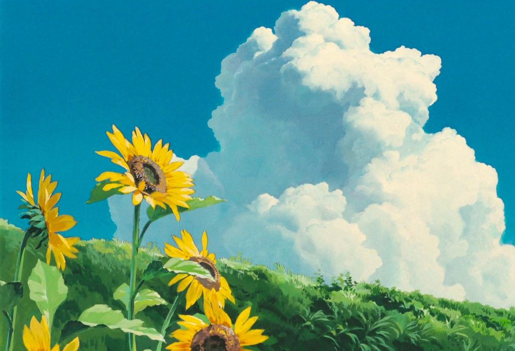 Pin By Chu On Ghibli スタジオジブリ Guess The Anime Anime Scenery Sunflower Wallpaper