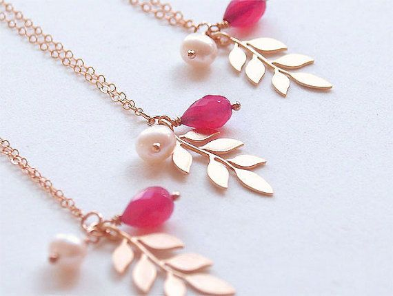 Bridesmaid Necklaces in Fuchsia and Gold  Set of 4  by FiveThirty, $100.00