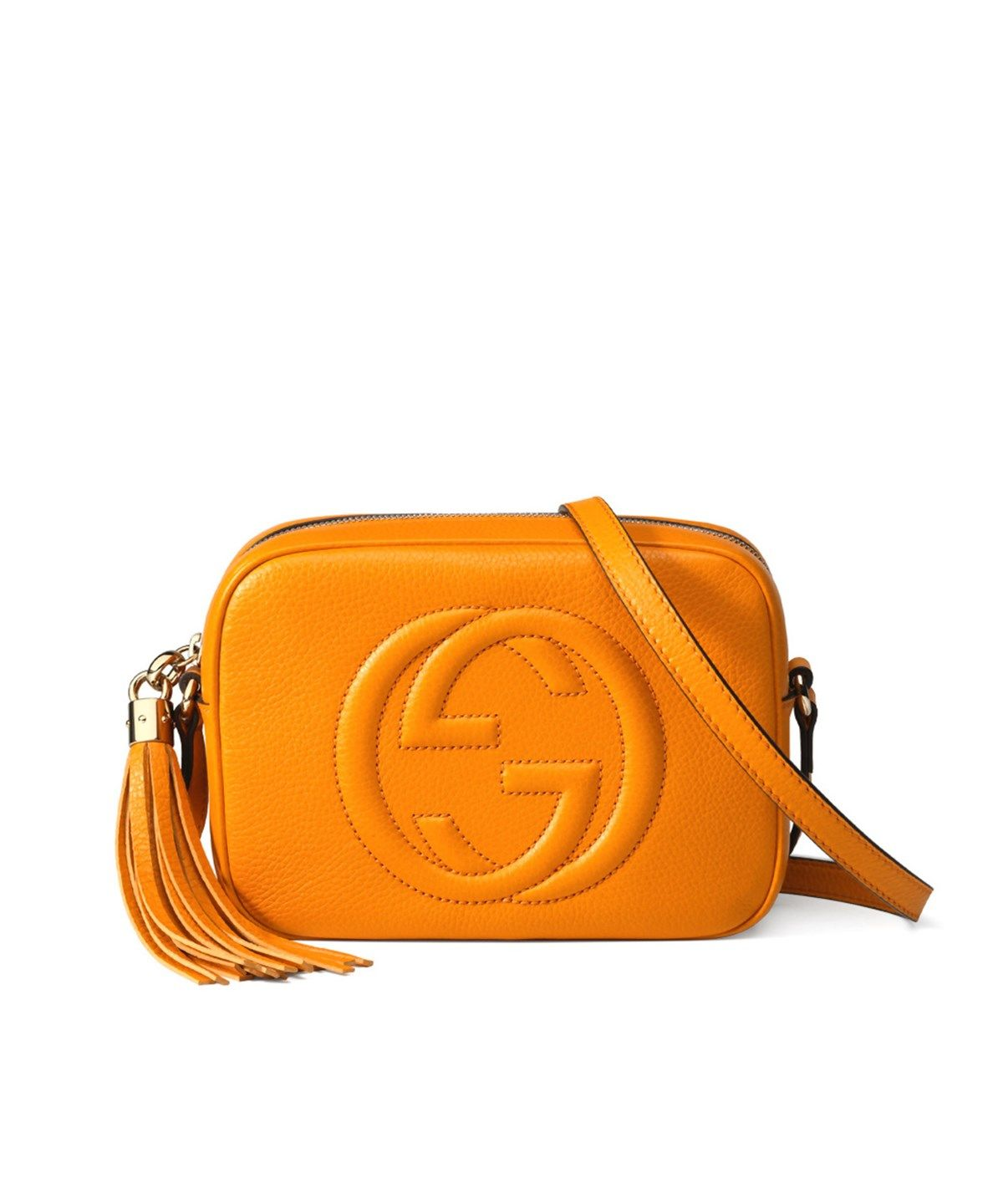 Gucci Soho Leather Disco Bag Dark Yellow Bags Shoulder Lining Linen Cotton