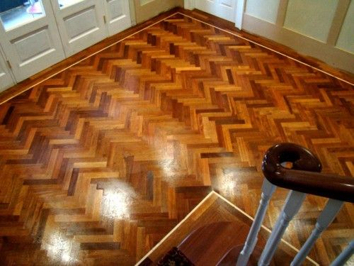 Herringbone Design Mahogany Parquet Flooring Supplied And Fitted By MM Carpentry Service