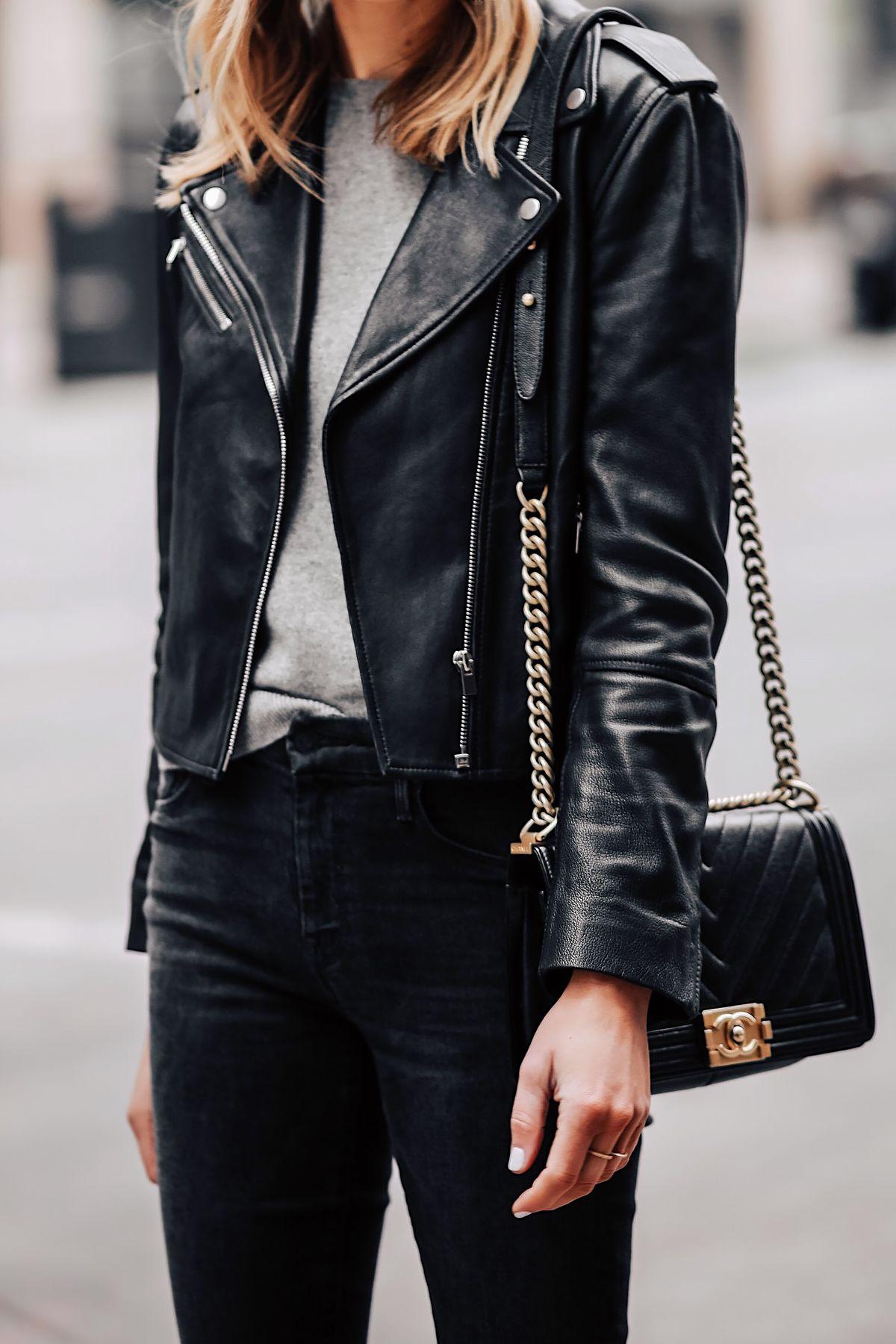 941c50ff264 Blonde Woman Wearing Club Monaco Black Leather Jacket Grey Sweater Black  Skinny Jeans Chanel Black Boy Bag Fashion Jackson San Diego Fashion Blogger  Street ...