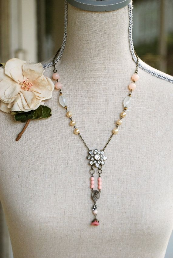 Vintage Assemblage Rhinestone Beaded Pearl Necklace