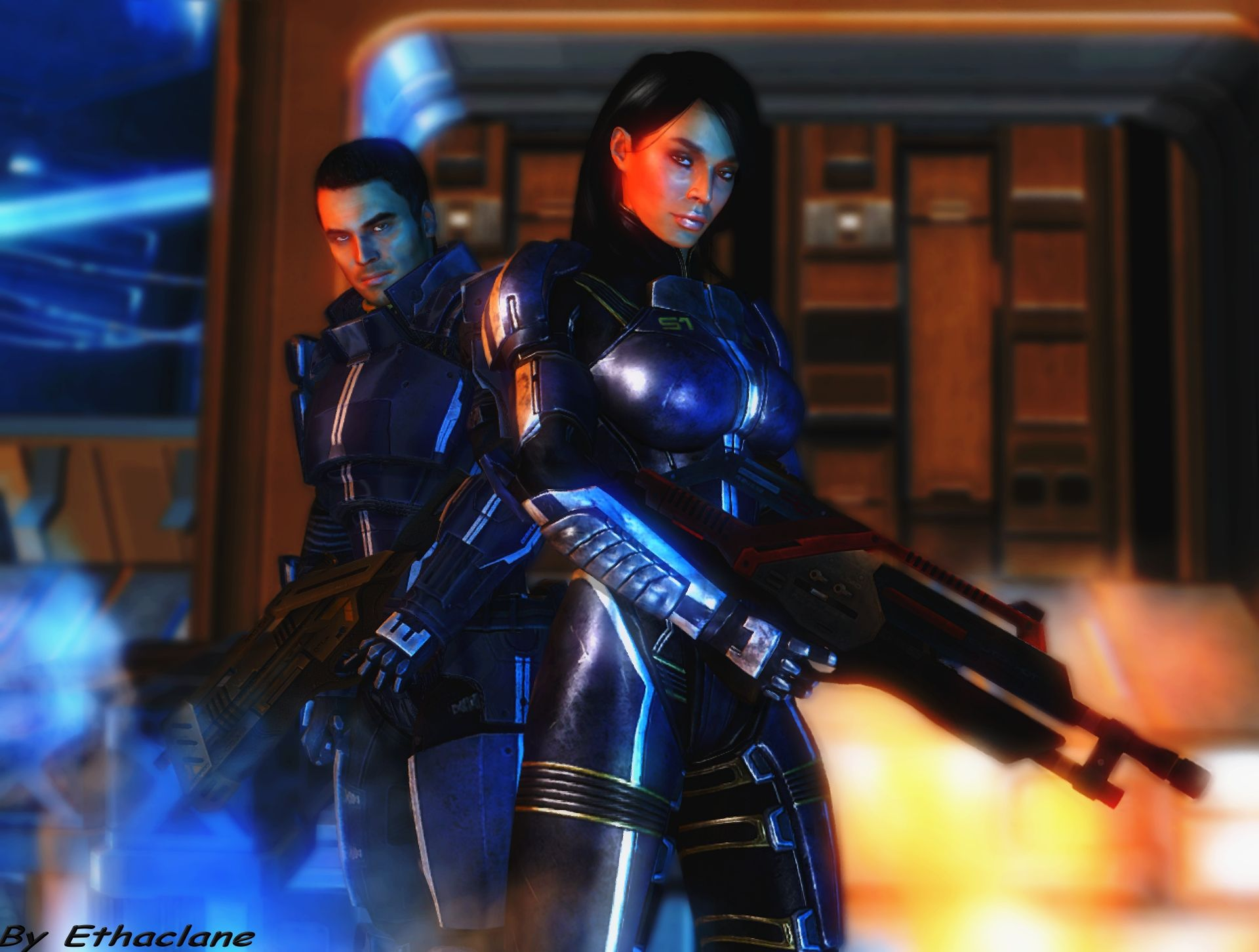 Mass Effect Wallpaper 13 Kaidan And Ashley By Ethaclane