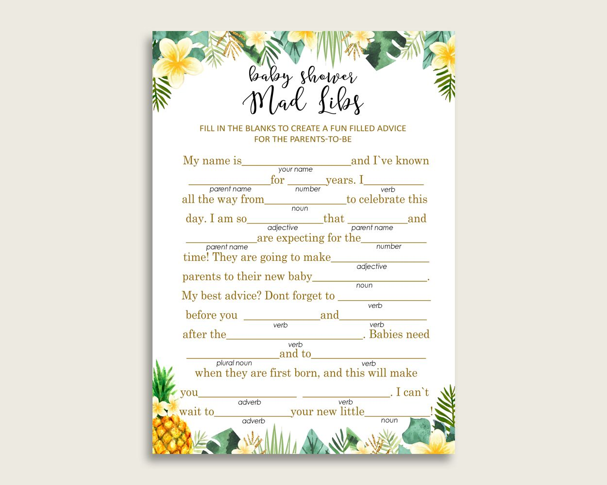 Green Yellow Mad Libs Baby Shower Gender Neutral Game