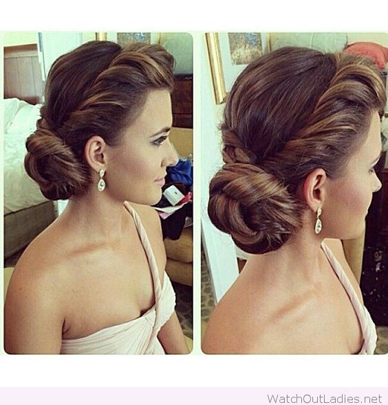 Amazing Side Bun And Earrings For Wedding Wedding Hairstyles For Long Hair Hair Styles Elegant Hairstyles