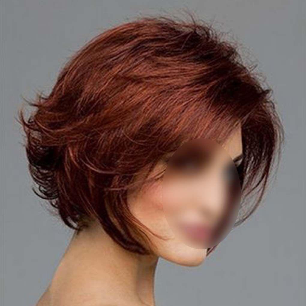 Fashion short straight dark red brown womenus cosplay hair wig full