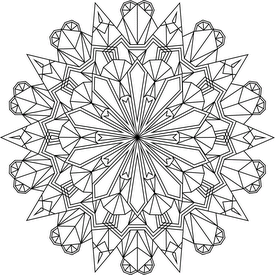 Nicolaus Steno was a Danish geologist who studied crystals and discovered that the angles between the corresponding faces are always the same. This became known as Steno's Law and is the First Law of Crystallography.  This mandala is definitely not to be confused with the song of the same name by Dillinger Escape Plan. Google at your own risk.
